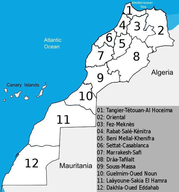 Mapa Maroka podział administracyjny
