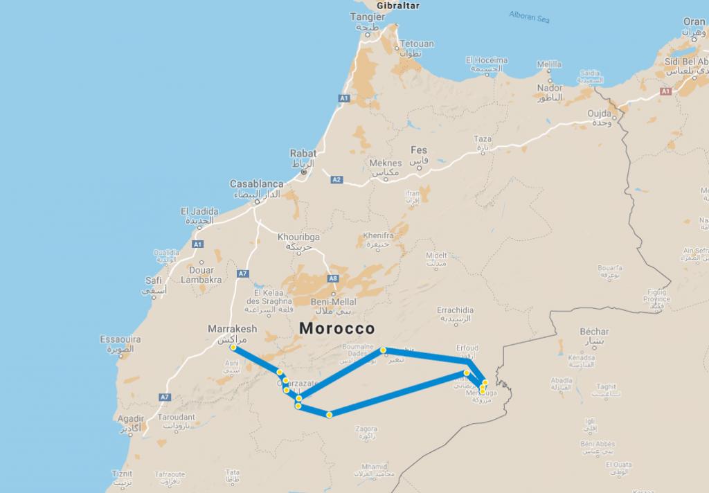 Mapa 7-dniowa wycieczka z Marrakeszu na pustynię